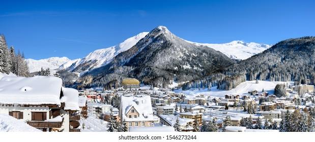 Panoramic view of  winter resort Davos, Davos.