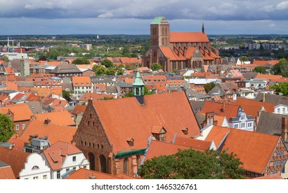Panoramic view of Wismar, Hanseatic city in Northern Germany on the Baltic Sea