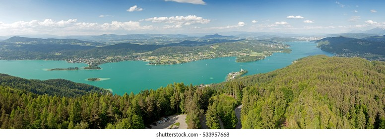 Panoramic view of Woerthersee Lake in Austria