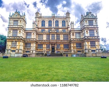 Panoramic view of the Wollaton Hall Museum, standing on a small but prominent hill in Wollaton Park, Nottingham, England. An historic Elizabethan mansion set in landscaped grounds.