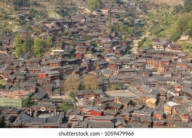 Panoramic view of Xijiang Qianhu Miao Village in Guizhou, China
