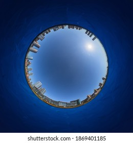 A panoramic view of Xinghai Square in Dalian, Liaoning, China in fisheye lens