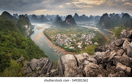 Panoramic View from Xingping Viewpoint over Lijiang River in Autumn Sunset, Yangshuo, China