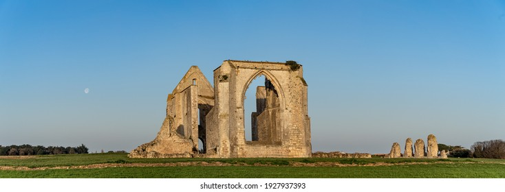Panoramic view of the Xl century abbey des chateliers on the island of ile de re, France.