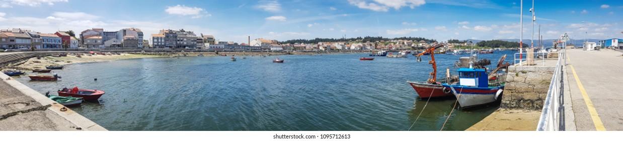 Panoramic view of Xufre fishing harbor in Arousa Island, Galicia, Spain