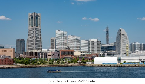 Panoramic view of Yokohama Minato Mirai 21 buildings from Osanbashi pier