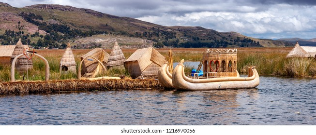 Panoramic view of yraditional village on floating Uros islands on lake Titicaca in Peru, South America