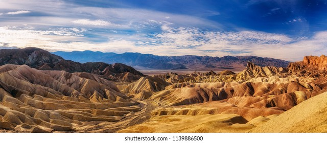 Panoramic view from the Zabriskie point  in Death Valley National Park in California