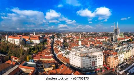 Panoramic view of Zagreb from Zagreb Eye Observation Deck (Zagreb 360)