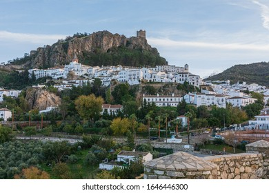 A panoramic view of Zahara de la Sierra, a town in the province of Cádiz, in southern Spain.