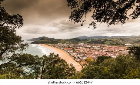 Panoramic view of Zarauz, Basque Country, Spain