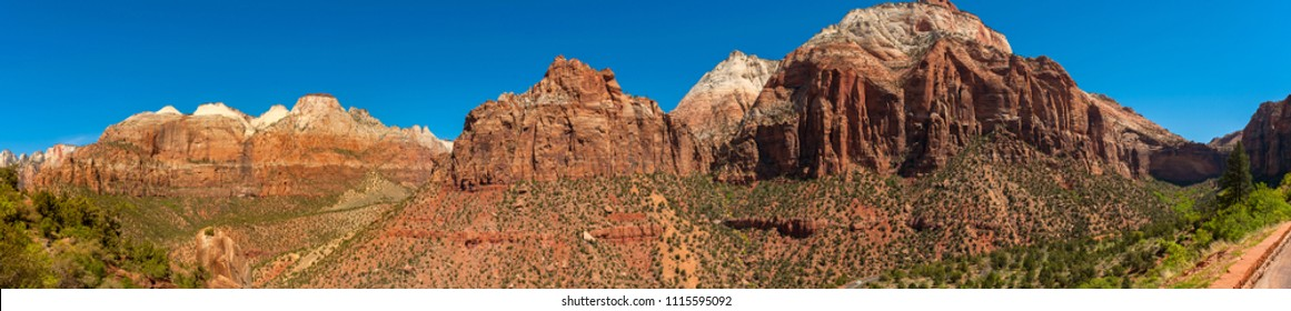 Panoramic View of Zion National Park, Utah. Zion National Park is a southwest Utah nature preserve distinguished by Zion Canyon's steep red cliffs. Enjoy Zion's unique array of plants and animals.