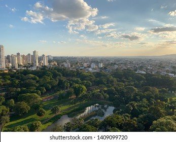 Panoramic view of the zoo and tropical forest in Goiania before the sun sets. Goiania, Goias, Brazil