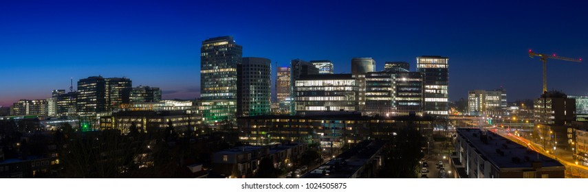 Panoramic view of Zuidas the business and financial district of Amsterdam, Netherlands