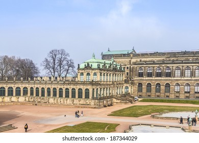 Panoramic view of Zwinger. Zwinger Palace (architect Matthaus Poppelmann) - royal palace since 17 century in Dresden, Germany. Today, Zwinger is a museum complex and most visited monument in Dresden.