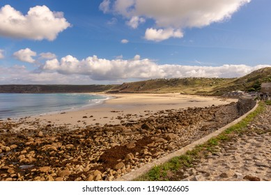 Panoramic views of the beach at Sennen Cove, on Cornwall's north coast, close to Land's End