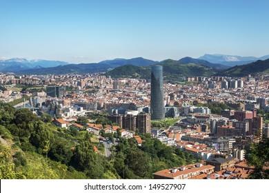 Panoramic views of Bilbao city, Bizkaia, Basque Country, Spain.