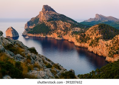 Panoramic views of the Cape Formentor at sunset. Majorca. Balearic Islands. Spain