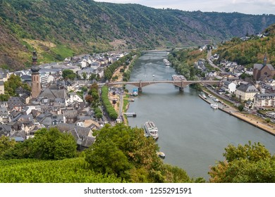 Panoramic views of the city of Cochem and the Moselle valley in Germany. Photo taken July 2018.