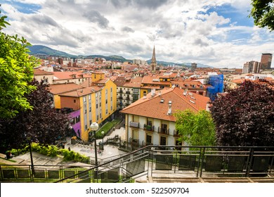 panoramic views of downtown bilbao, spain