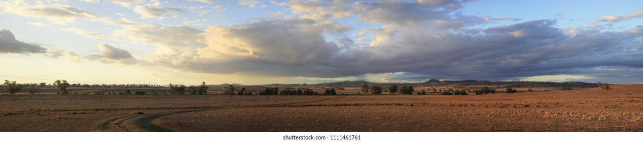 Panoramic views of dry, drought stricken farm land in Gunnedah, New South Wales, rural Australia