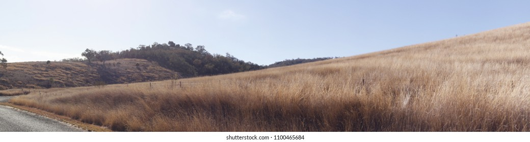 panoramic views of dry grassy drought stricken farm land in Tamworth, NSW, rural Australia