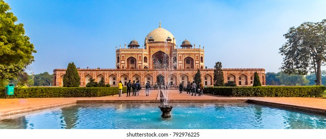Panoramic views of the first garden-tombon the Indian subcontinent. The Tombis an excellent example of Persian architecture. Located in the Nizamuddin East area of Delhi, India.