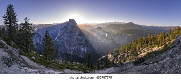 Panoramic views from Glacier Point of Half Dome and Yosemite Falls