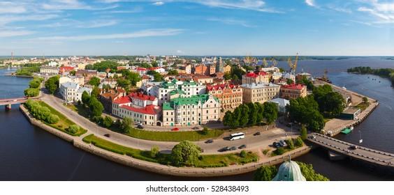 Panoramic views from height of Vyborg fortress, Saint-Petersburg, Russia.