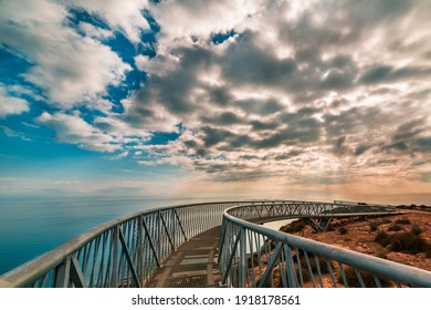 Panoramic views of the Mediterranean from the Santa Pola lighthouse at sunrise with amazing sky - Shutterstock ID 1918178561