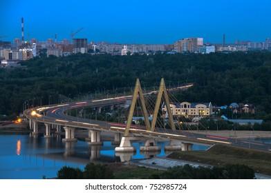 the panoramic views of the Millenium bridge, Kazan Russia at night