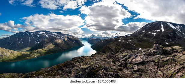 Panoramic views of the mountains and lakes Jotunheimen Norwey