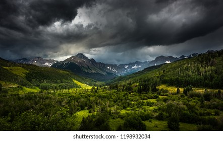 Panoramic views of Mt. Sneffels and the Dallas Creek drainage area near Ridgway Colorado Darm dramatic stormy clouds over the mountains