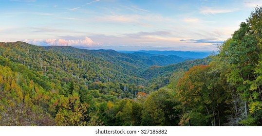 Panoramic views of October in the Smokies from a highway overlook in the scenic Smoky Mountain National Park, North Carolina.