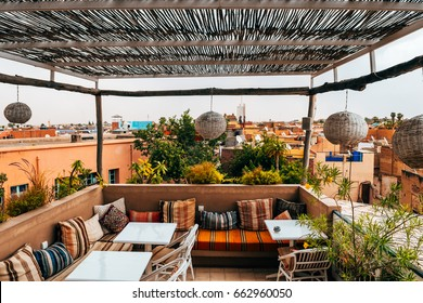 panoramic views to old medina city of marrakech, Morocco