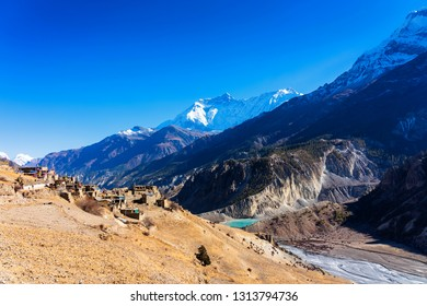 Panoramic views on a popular tourist destination trail in Nepal - Annapurna Circuit Trail. Way to base camp and Thorong La or Thorung La pass.