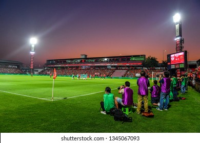 Panoramic views of SCG Stadium during The Football Thai League match between SCG Muangthong United and PT Prachuap F.C.at SCG Stadium on February24,2019 in Nonthaburi, Thailand