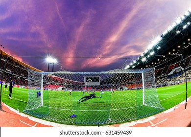 Panoramic views twilight  of Rajamangala Stadium during 2018 FIFA World Cup Qualifier Group B between Thailand and Saudi Arabia at the Rajamangala Stadium on March 23, 2017 in Bangkok,Thailand,