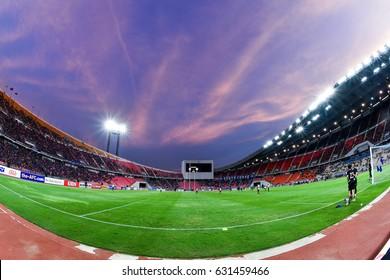 Panoramic views twilight  of Rajamangala Stadium during 2018 FIFA World Cup Qualifier Group B between Thailand and Saudi Arabia at the Rajamangala Stadium on March 23, 2017 in Bangkok,Thailand,