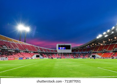 Panoramic views twilight of Rajamangala Stadium during 2018 FIFA World Cup Qualifier Group B between Thailand and Iraq at the Rajamangala Stadium on August 31, 2017 in Bangkok,Thailand,