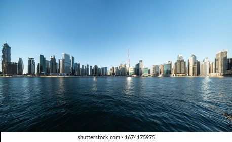 Panoramic views of urban Skyline and modern skyscrapers in Dubai UAE.