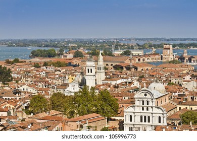 Panoramic views of Venice and Greek Orthodox Church (San Giorgio dei Greci) from Campanile di San Marco. Venice, Italy, Europe.