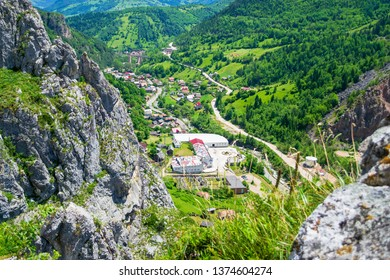 """Panoramic views from via ferrata """"Astragalus"""", a popular tourist attraction in Bicaz Gorge (Cheile Bicazului), Neamt county, Romania. Vivid bright nature colors as seen from a mountain top."""