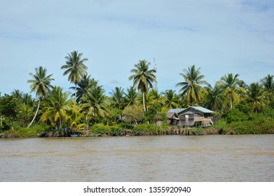 panoramic village at the river of Borneo Indonesia