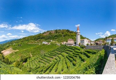 Panoramic of vineyard Prosecco on the small town of Rolle, Valdobbiadene , Veneto, Italy