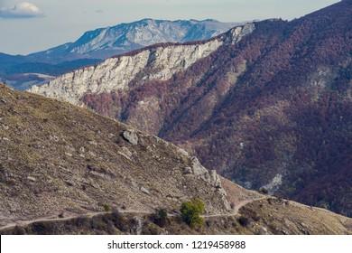 Panoramic vista over atumnal woodlans in Bosnia mountains.