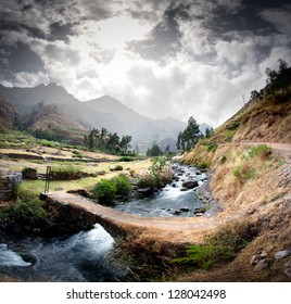 panoramic viwe of a peruvian andean valley