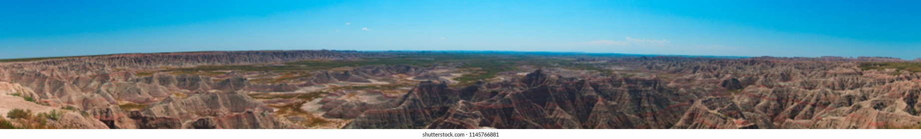 A panoramic of The Wall in Badlands National Park, South Dakota, United States
