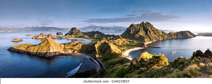 Panoramic warm view at top of 'Padar Island' in sunrise (late morning) from Komodo Island, Komodo National Park, Labuan Bajo, Flores, Indonesia. in summer
