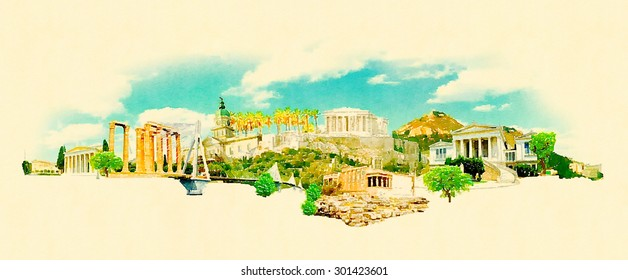 panoramic water color athens city illustration
